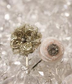 Velvet  Beaded Hair Pins -