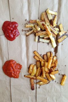 Baked Kohlrabi fries, two ways. I did the spiced ones and they were delicious.