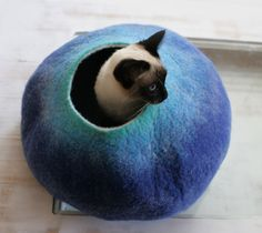 Cat Cave / Bed / House / Vessel - Hand Felted Wool - Teal to Blue Bubble - Crisp Contemporary Design - READY TO SHIP