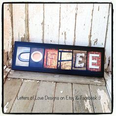 COFFEE   Mini Wood Photo Letter Art Sign  by LettersOfLoveDesigns , coffee shp. cappucino, latte, breve, tea, joe, cuppa, cup.  Great for gifts / presents :)