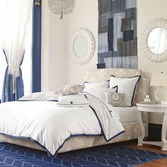 Navy & white bedroom