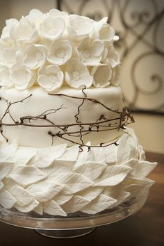 white chocolate, leav, rustic weddings, white weddings, white cakes, chocolate truffles, white wedding cakes, rustic wedding cakes, flower