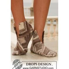 Domino Slippers FREE knitting pattern from DROPS