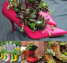 Garden decoration with recycled items #Bike, #Decoration, #Garden, #Planters, #Recycled, #Shoes