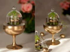 This year Easter table decoration involved a lot of gold spray paint and eggshell planters. I guess after this minis I'm finally ready to give a shot to a real terrarium))