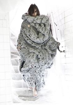 Knitted brilliance by Taipei born designer Johan Ku.      fashion   knit   knitted   design   handmade   chunky   wool   dress   warm   editorial   art   incredible   woollens   winter   obscure   knitting   www.republicofyou.com.au