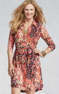 CAbi Spring '13 Printed Shirt Dress-so comfy and beautiful colors!!