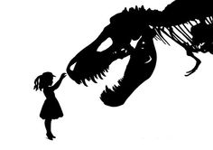 I think I'd like this as a tattoo. Silhouette Girl with Dinosaur pet tyrannosaurus by emporiumshop