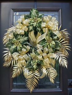 Wreaths, Christmas Wreaths For The Door, Green and Gold, Elegant Christmas Wreath, Holiday Wreath Decoration. $ 158.00, via Etsy.