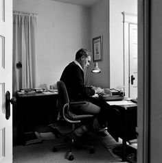 """Raymond Carver at his typewriter.  """"That's all we have, finally, the words, and they had better be the right ones."""""""