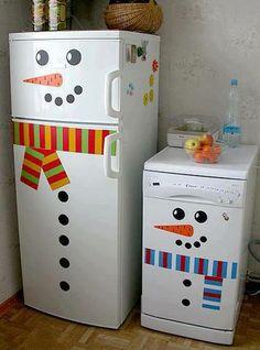 elf decorates the fridge