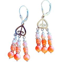 Helen of Troy Natural Coral and Sterling Silver Chandelier Earrings  I just put these on Sale in Mid May 2014