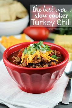 The Best Ever Slow Cooker Turkey Chili - easy, delicious, healthy dinner