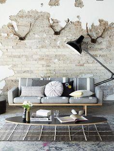 http://architecture-article.com #architecture #modern #rustic #pillows #industriallamp #couch #industrial #exposedbrick #brick #brickinterior #livingroom