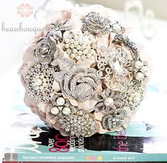 Bridal Bouquet Made of Jeweled Brooches