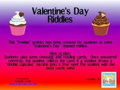 Speechie Freebies: Valentine's Day Riddles!! Pinned by SOS Inc. Resources. Follow all our boards at pinterest.com/sostherapy/ for therapy resources.