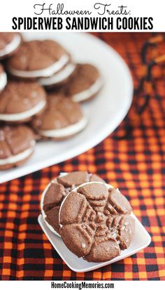 Spiderweb Sandwich Cookies - easy Halloween treats! Made with chocolate shortbread and filled with a delicious marshmallow buttercream