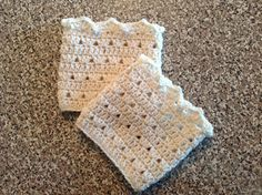 Crocheted Lacy Boot Cuff Boot Topper Leg Warmer by shorethingdesigns