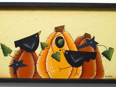 Pumpkins and Crows on a Framed Plaque, Handpainted Wood. $9,95, via Etsy.