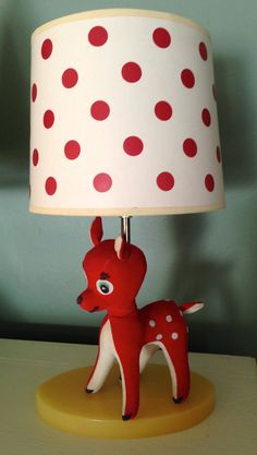 Vintage Holiday Rudolph Reindeer Lamp Red with Polka Dot Shade circa 1950s Christmas Collectible Nursery Decoration