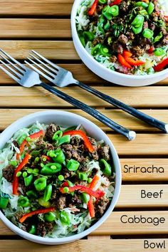 Sriracha Beef Cabbage Bowl; this is a favorite Phase One SBD recipe I find myself making over and over!  Use coleslaw mix without carrots for phase one or lowest carbs. [from Kalyn's Kitchen] #LowCarb #GlutenFree #CanBePaleo