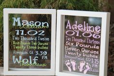 Baby Stats - Subway Art in a Floating Frame - Boy or Girl Version on Etsy, $32.00