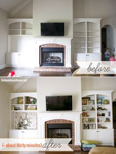 Love these built-in bookcases around the fireplace!