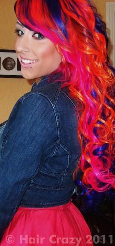 crazy hair, girl hair, purple hair, colored hair, colorful hair, color hair, blue hair, curly hair, red black