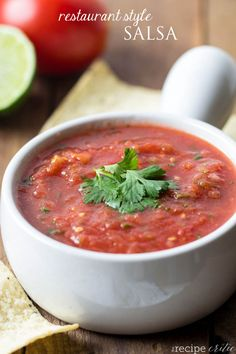 Restaurant Style Salsa at http://therecipecritic.com Amazing homemade salsa that tastes EXACTLTY like it is from a restaurant and you can make it in 10 minutes at home!