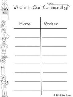 Community helpers worksheet