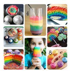 Fun ideas for a rainbow party:) rainbow treats, fun idea, rainbow cake, birthday parties, food, rainbows, rainbow parti, parti idea, kid