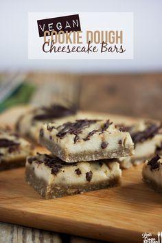 Vegan Cookie Dough Cheesecake Bars  #LexisCleanKitchen