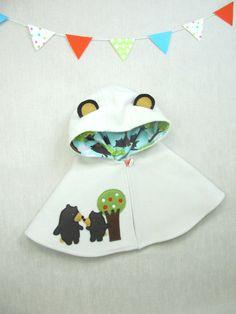 Bear Capelet, Cape, Poncho, Jacket, Baby, Children, Handmade, Gift
