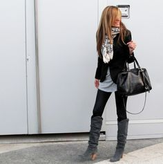 Scarf + black blazer + over-sized tee + leggings+ boots