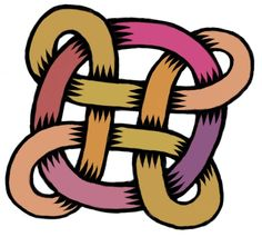 Shaded and colored version of Bowen knot entangled with a ring