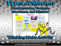 Types of Storms Thinking Links - Thunderstorm Hurricane Tornado Blizzard from King Virtue on TeachersNotebook.com -  (1 page)  - Types of Storms Thinking Links Activity - Thunderstorm, Hurricane, Tornado, and Blizzard - King Virtue's Classroom  Thinking Links are a great activity to use to see what students have learned! How do
