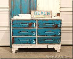 turquoise blue and white stenciled dresser beach inspired, painted furniture, This was an easy project using paint and stencils I distressed...
