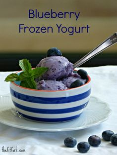 Light Blueberry Frozen Yogurt -- made with fat-free Green yogurt, fresh or frozen berries and Stevia, low in calories but big in summer flavor. This healthy recipe is better than ice cream and a great finale for your outdoor entertaining or for a muscle-making post workout treat! | thefitfork.com
