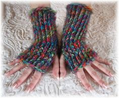 Loom Knit Arm Warmer Fingerless Gloves
