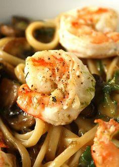 Spicy Noodles with  Garlic Shrimp