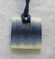 My square sort of Ikat pendant - originally on my old blog - transferred to my new blog with loads of new content here's that post http://www.carajane.co.uk/2011/03/feeling-square.html
