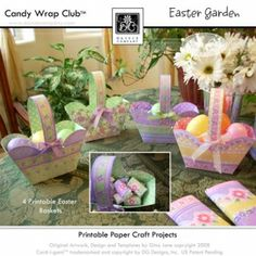 Printable Easter Baskets with Matching Candy Bar Wrappers, Hershey, Cadbury, Cup Wrappes, and Altered Paint Can Wrappers... with graphics and borders...  DAISIE COMPANY: Printable Digital Paper Crafts, Clipart, Scrapbooking, Stamp, Party - DaisieCompany.com