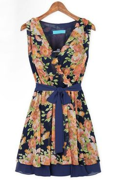 Blue Sleeveless Floral Bandeau Belt Pleated Dress