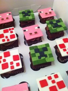 Minecraft cupcakes. Could try to use candy like air heads and fruit roll ups instead of fondant