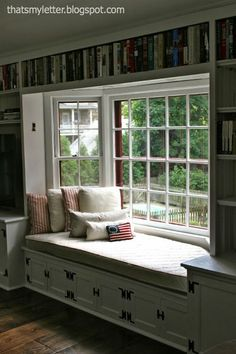 """That's My Letter: """"W"""" is for Windowseat Cushion Cover, quilted drop cloth cushion cover"""