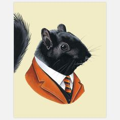 Black Squirrel Print 11x14 now featured on Fab.