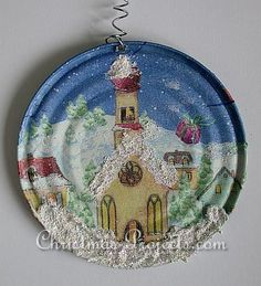 Christmas Craft - Recycling Craft - Can Lid Christmas Ornament. Can lids with smooth edges make a good base for this type of ornament.  found at http://www.christmas-projects.com/html/recycled_lid_ornament.html