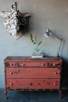 DIY distressed dresser for backdrop