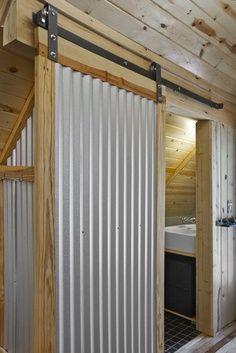 Galvanized+Metal+Indoor+Walls | corrugated metal barn door ... Spaces Corrugated Metal Wall Design ...