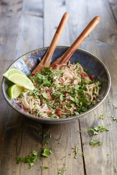 noodles with and spicy rhubarb sauce